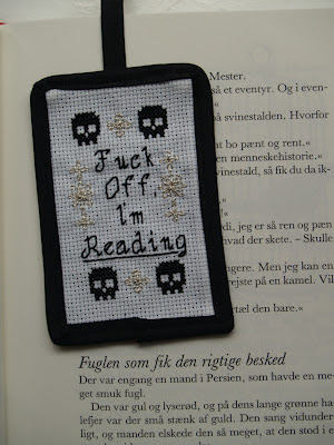 Subversive bookmark with skulls. Cross stitch. Fuck off Im reading.
