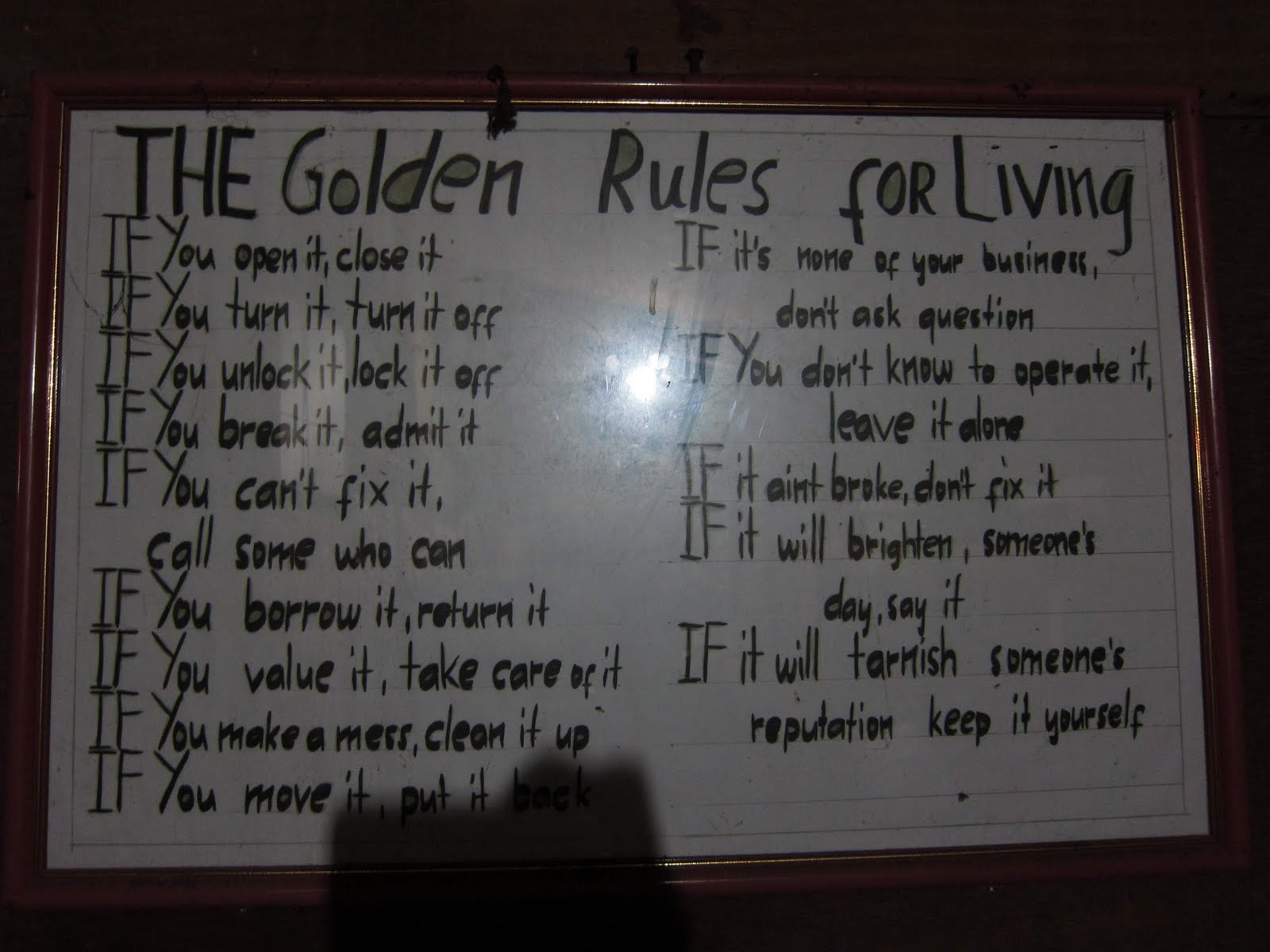 JVF: The Golden Rules for Living