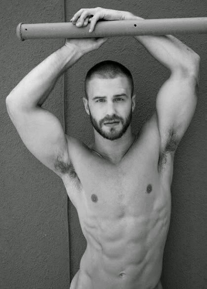 Black & White Athletic Man's Hairy Armpits