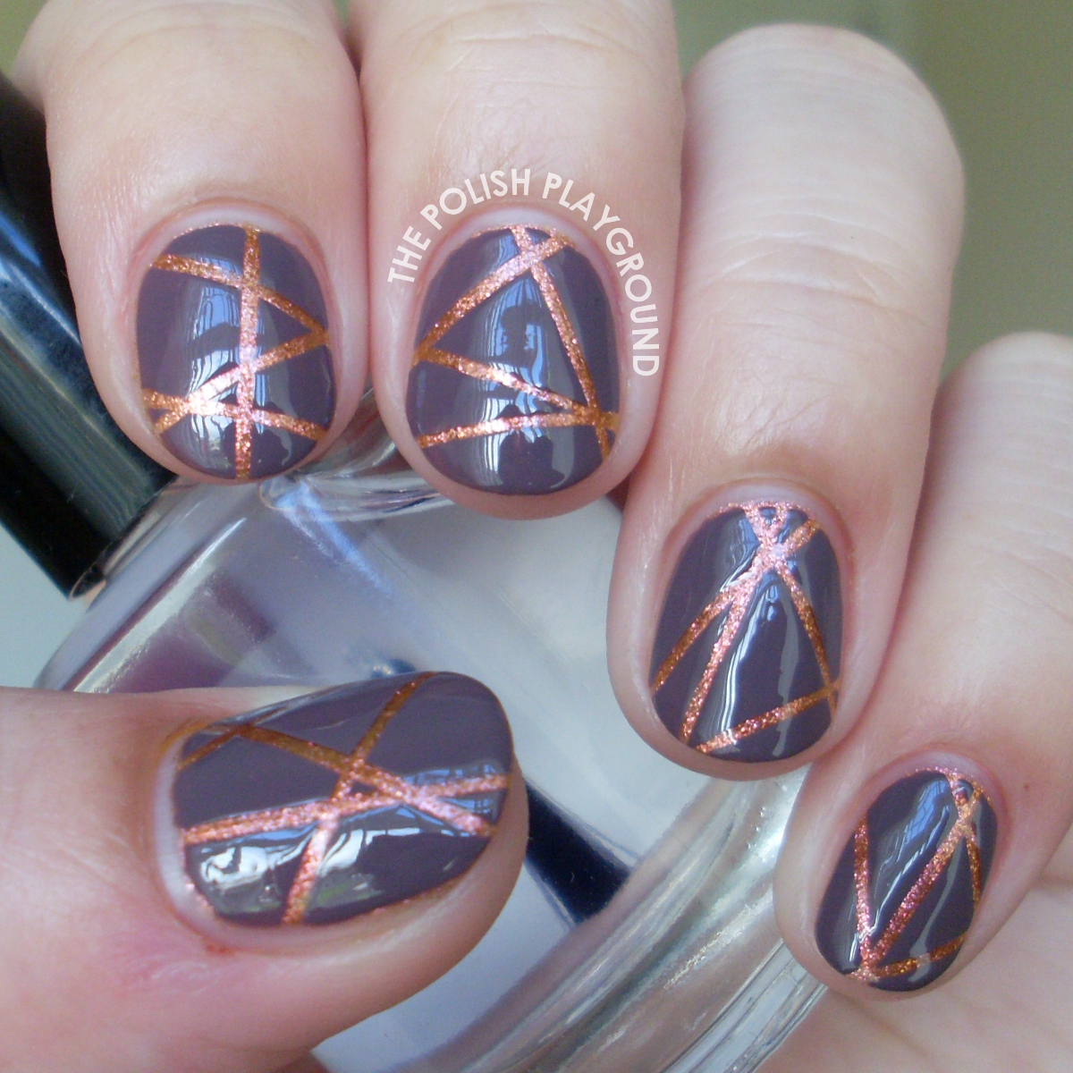 Neutral Lazer Striping Tape Nail Art