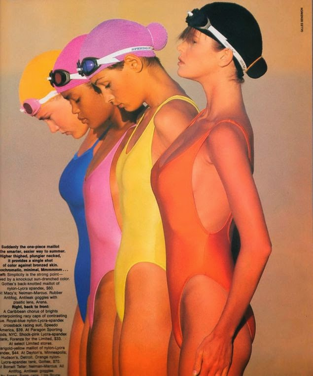 Vintage colourful swimsuit editorial