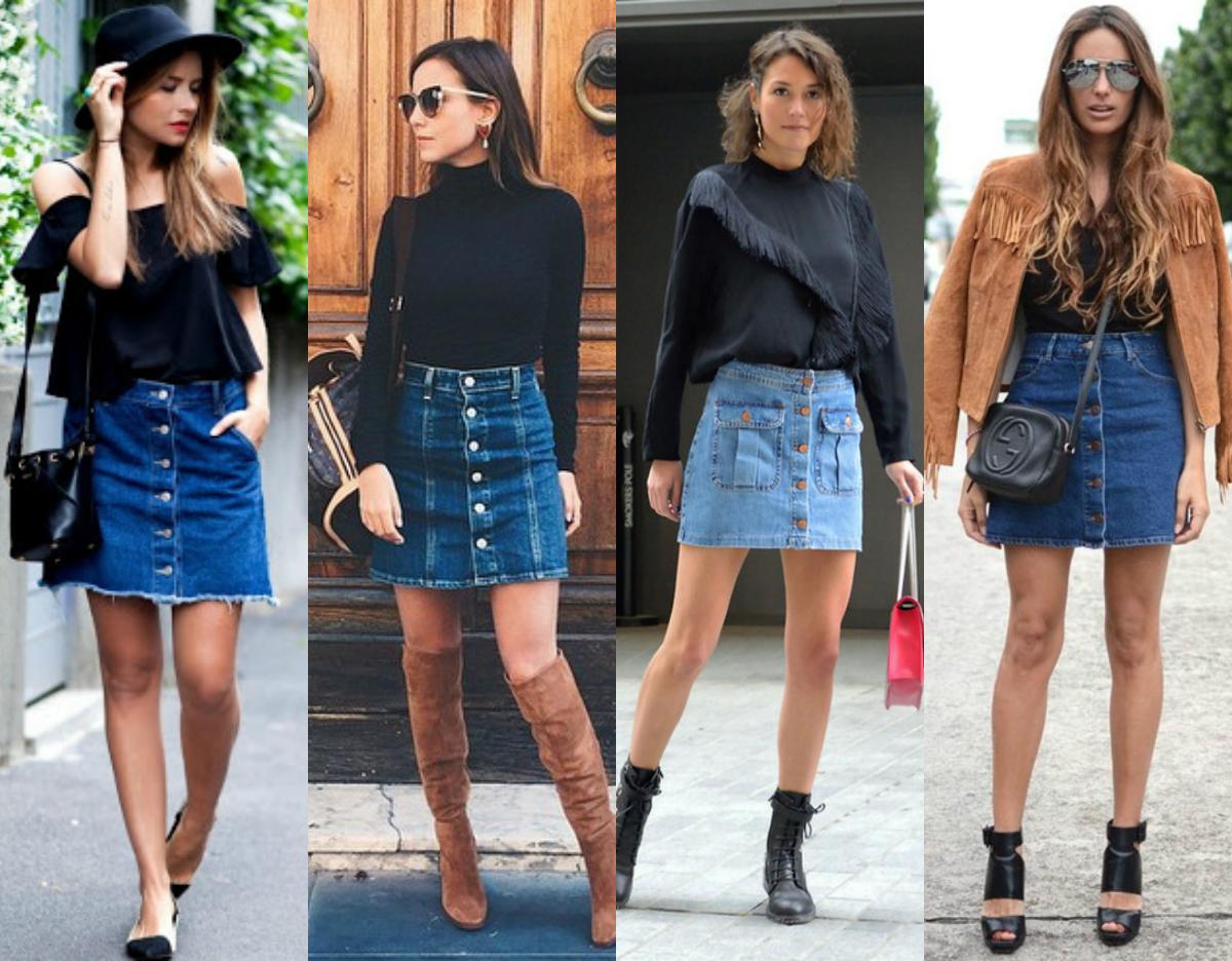 Extremamente Como ser Diva: Como usar saia jeans de botão na frente ZA28