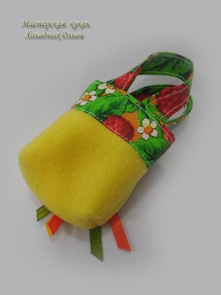 Сумочка для куклы желтая