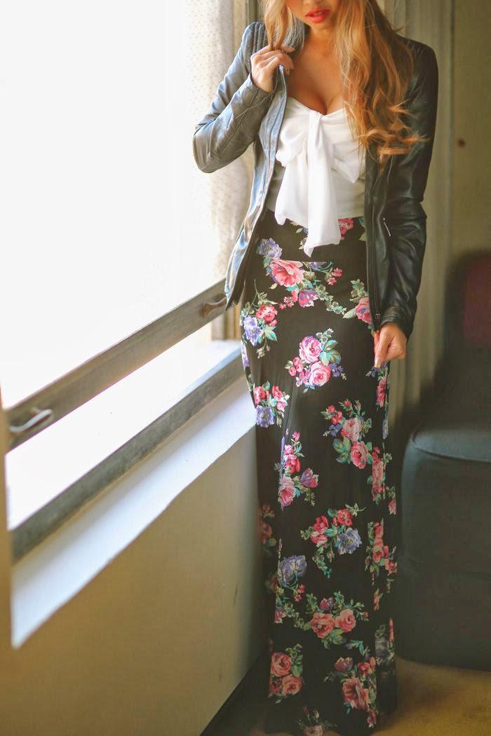 Amazing Flower Patterned Maxi Skirt with White Blouse and Stylish Jacket