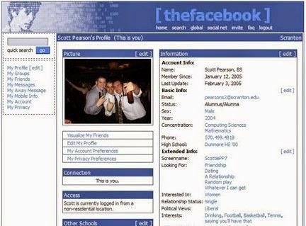 Perubahan Tampilan Facebook 2005