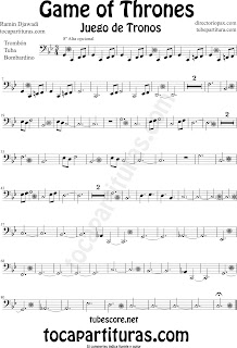Partitura de Juego de Tronos para Trombón, Tuba Elicón y Bombardino by Game of Thrones Sheet Music for Trombone, Tube, Euphonium by Ramin Djawadi Music Scores