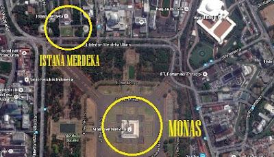 peta menuju istana merdeka jakarta