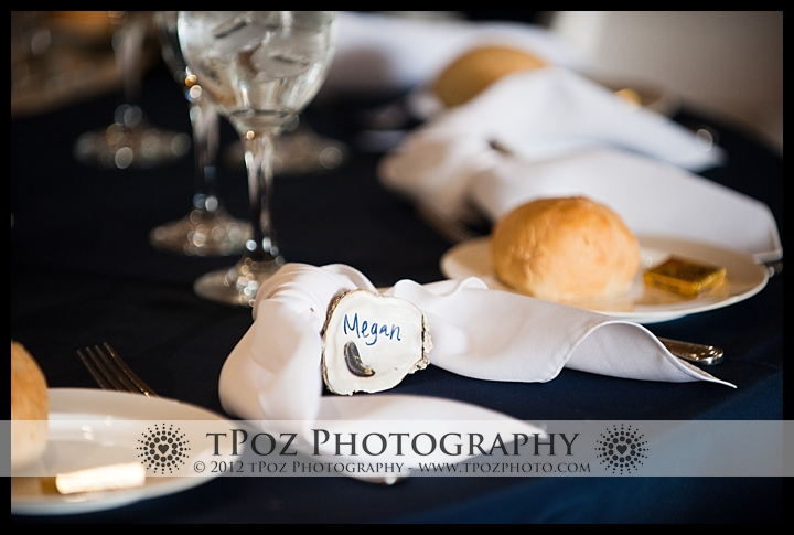 Oyster Placecards at an Annapolis Maritime Museum Wedding