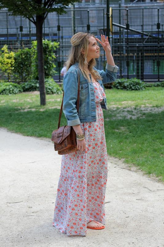 Robe longue avec veste en jean