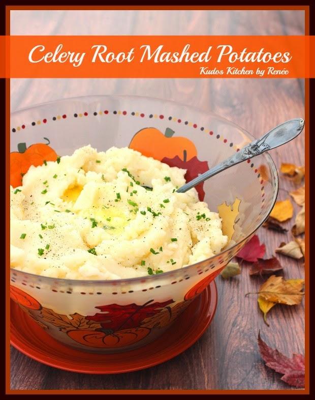 Celery Root Mashed Potato Recipe / www.kudoskitchenbyrenee.com