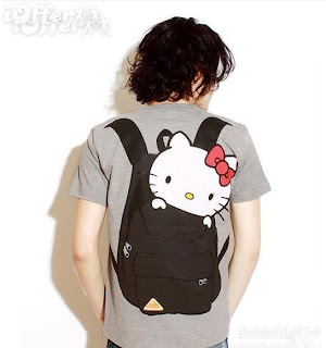 Cute Hello Kitty gray backpack t-shirt