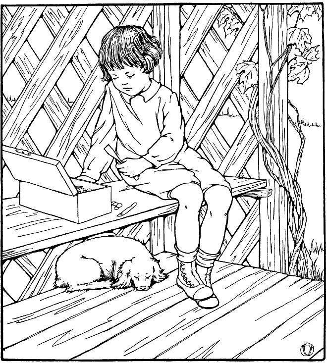 niño con perro para imprimir