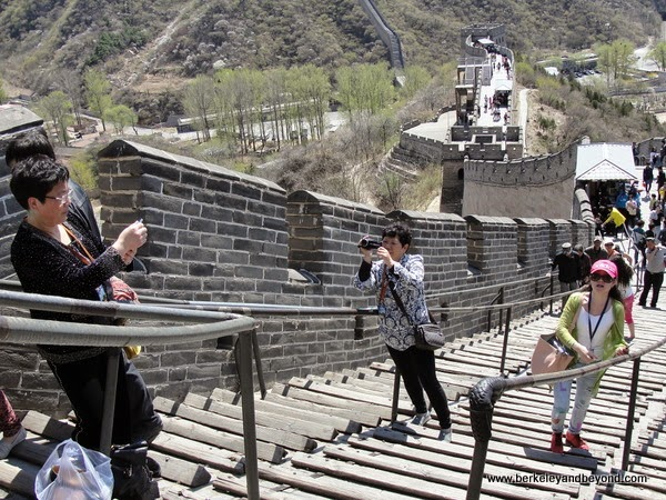 wood rails on stone path at Badaling Pass section of Great Wall in China