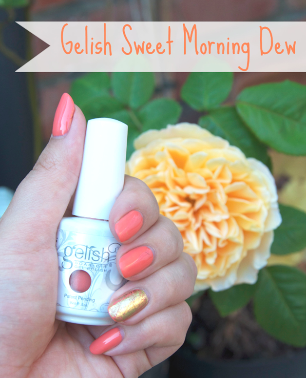 Gelish Sweet Morning Dew Gel Nail Varnish Gold Foil Nail Art