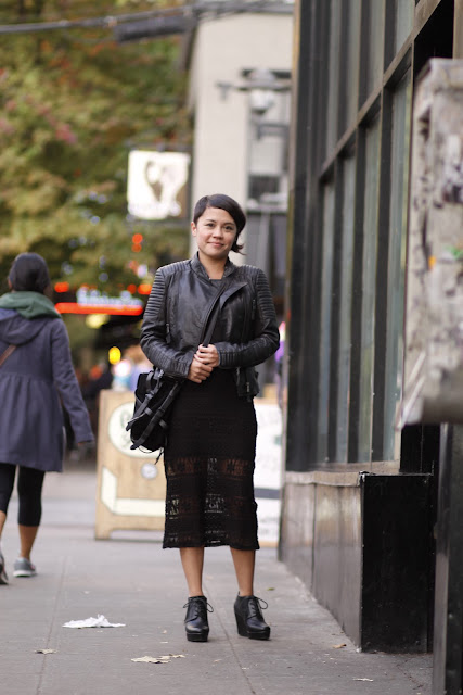 Amanda Crutchley Asymmetrical hair lace dress seattle street style fashion