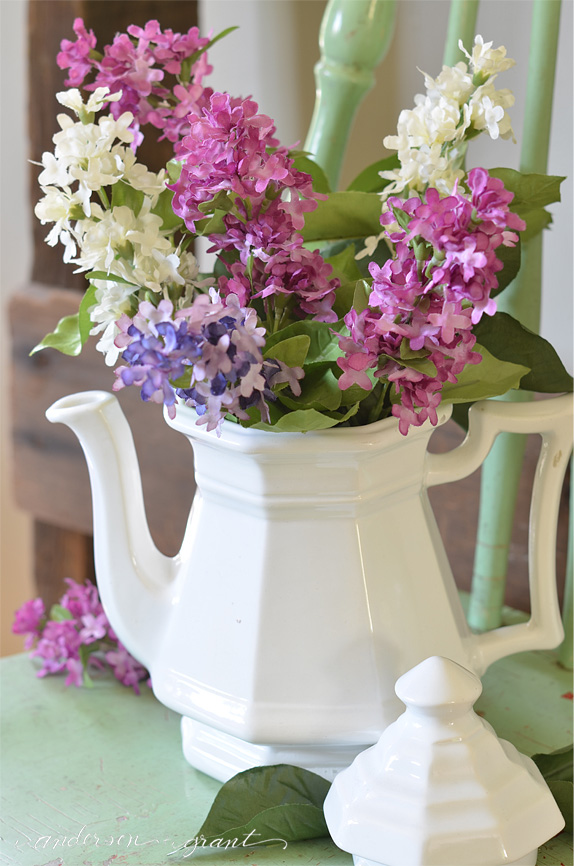 Decorating with an ironstone teapot | www.andersonandgrant.com