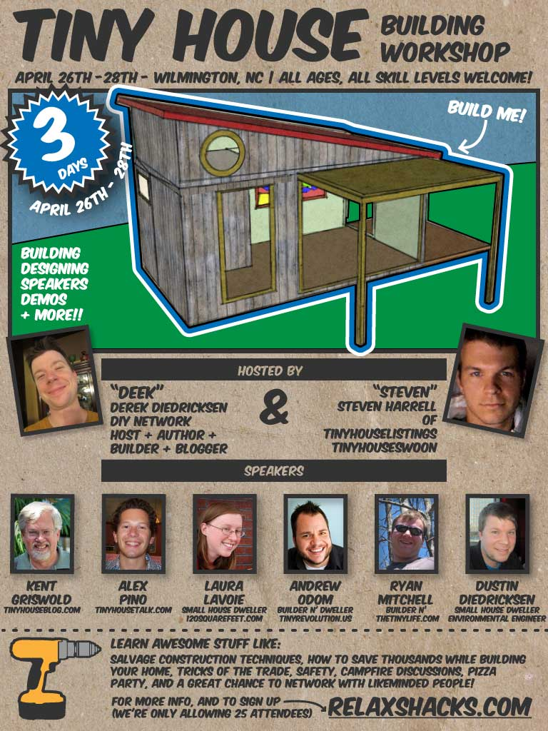 Relaxshackscom TINY HOUSE CONVENTIONWORKSHOP in APRIL GUESTS