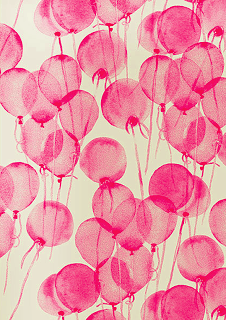 Pink watercolour balloon print - London design blog