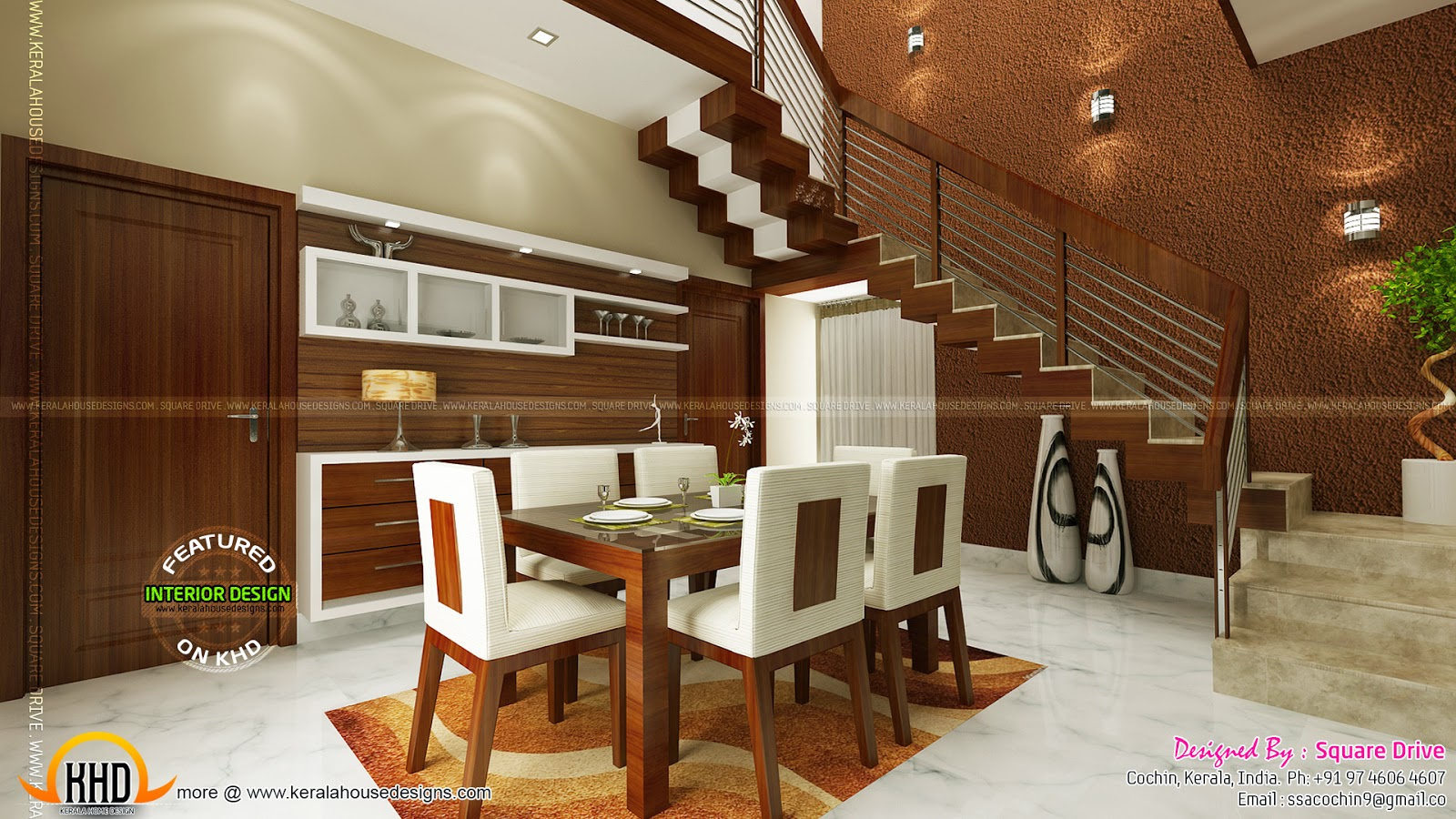 Cochin interior design kerala home design and floor plans for Interior design for hall and dining room