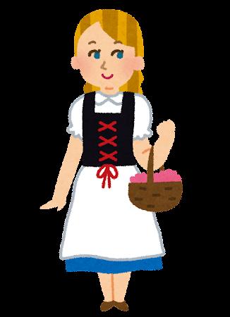 ミーデルを着たスイスの女性のイラスト