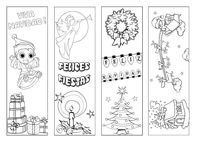 Blog para una Navidad Feliz: Colorea Marcapáginas de Navidad