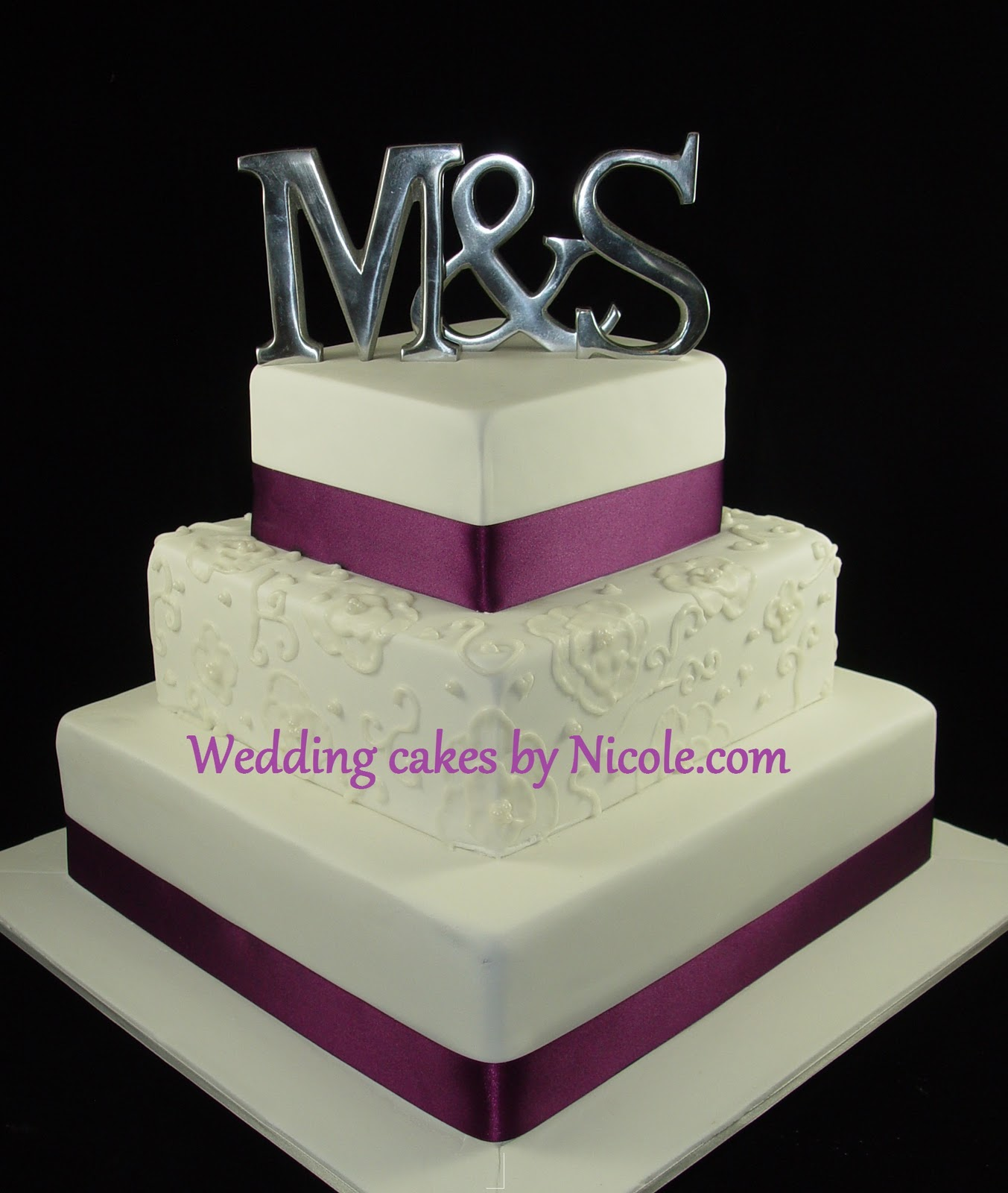 Simple 2 Tier Square Wedding Cake Viewing Gallery