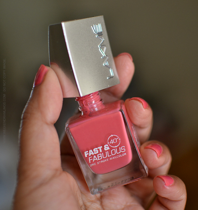 Lakme Nail Polish Fast and Fabulous One Stroke Nail Colour Popping Pink 17 - Photos Swatches Review NOTD