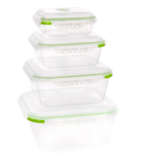Ozeri Instavac Food Storage Container Set Contains 4 Plastic Containers Bpa Free Each Is Microwave Dishwasher And Freezer Safe