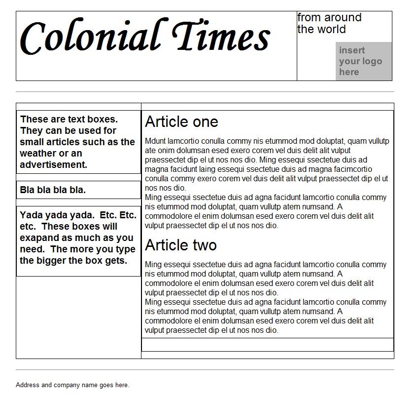 Sample Newspaper Template Militaryalicious