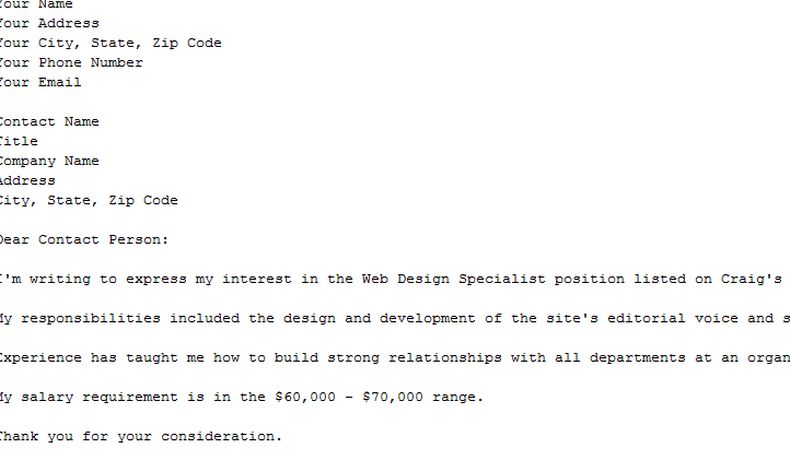 Cover letter w salary requirements