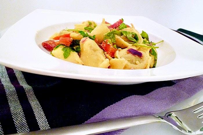 Tortellini mit gegrillten Paprika