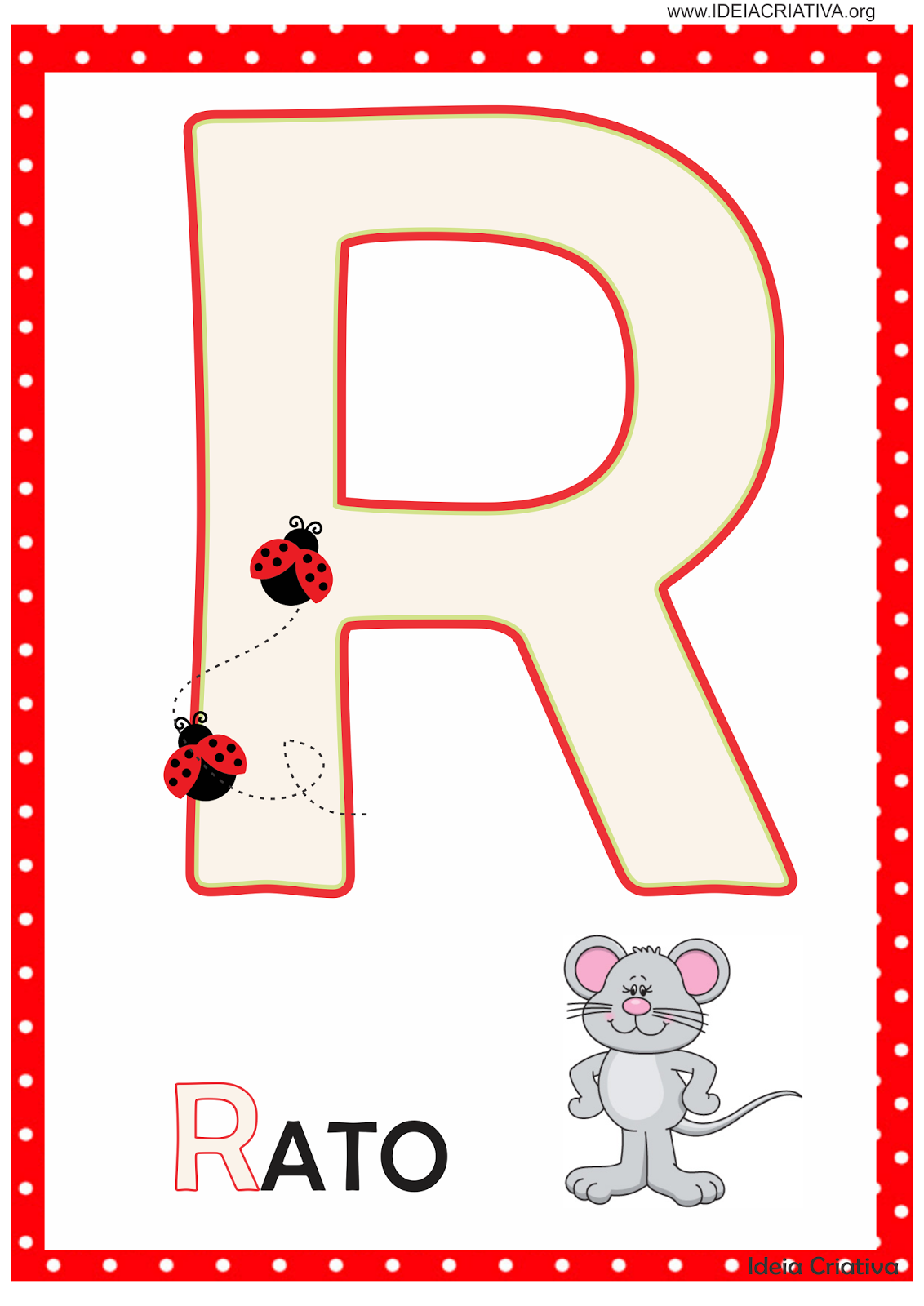 Alfabeto Joaninha para imprimir Grátis