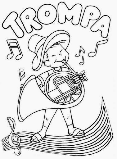 Dibujos para colorear maestra de infantil y primaria instrumentos de viento para colorear - Dibujos pared infantil ...