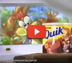 Propaganda antiga do achocolatado Quik, da Nestlé.