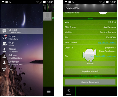BBM MOD Android Beserta Fitur Ganti Background