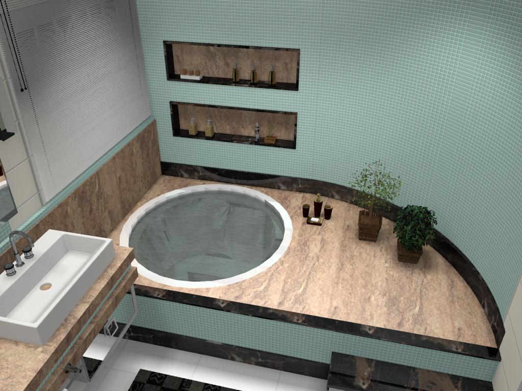 Banheiro para um jovem casal onde usou se mármore travertino marrom  #8B6440 1024x768 Banheiro Com Banheira Casal