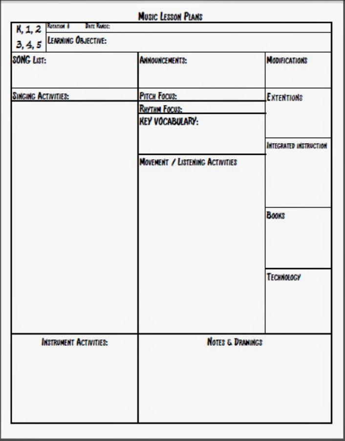 Melodysoup Blog: Music Lesson Plan Template