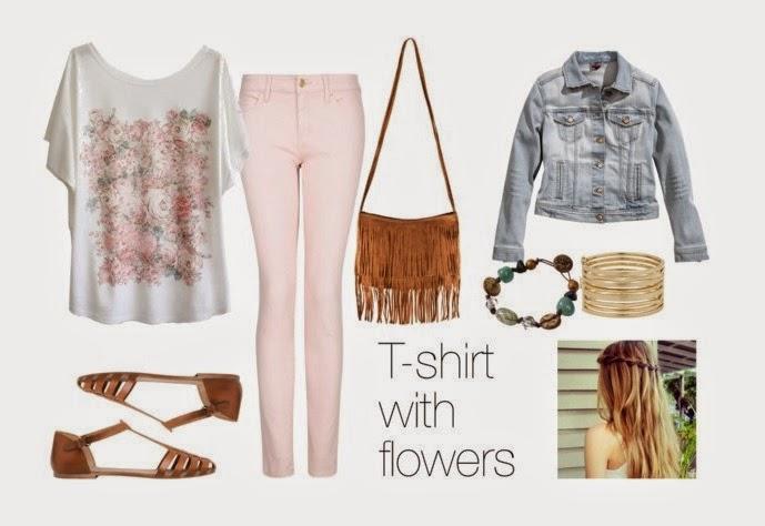 look camiseta de flores