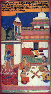 Krishna watching Ladies playing chauper, Bundi, a folio of Keshavadasa Rasikpriya poetry
