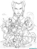 Mewarnai Gambar Avatar Aang Dan Teman Temannya Siap Bertarung Melawan Azula