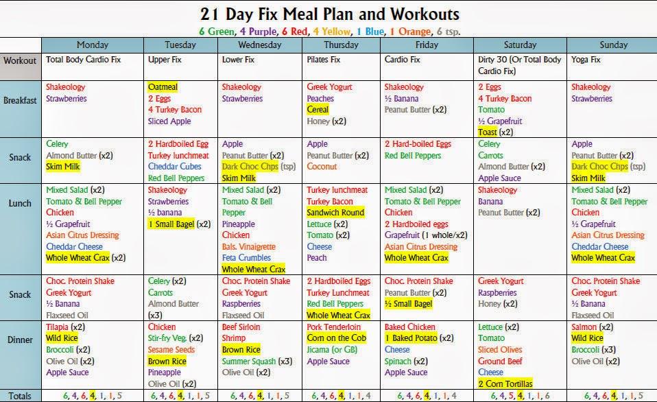21 Day Fix Week 1 2100 Cal Meal Plan Jpg 714 215 525 21