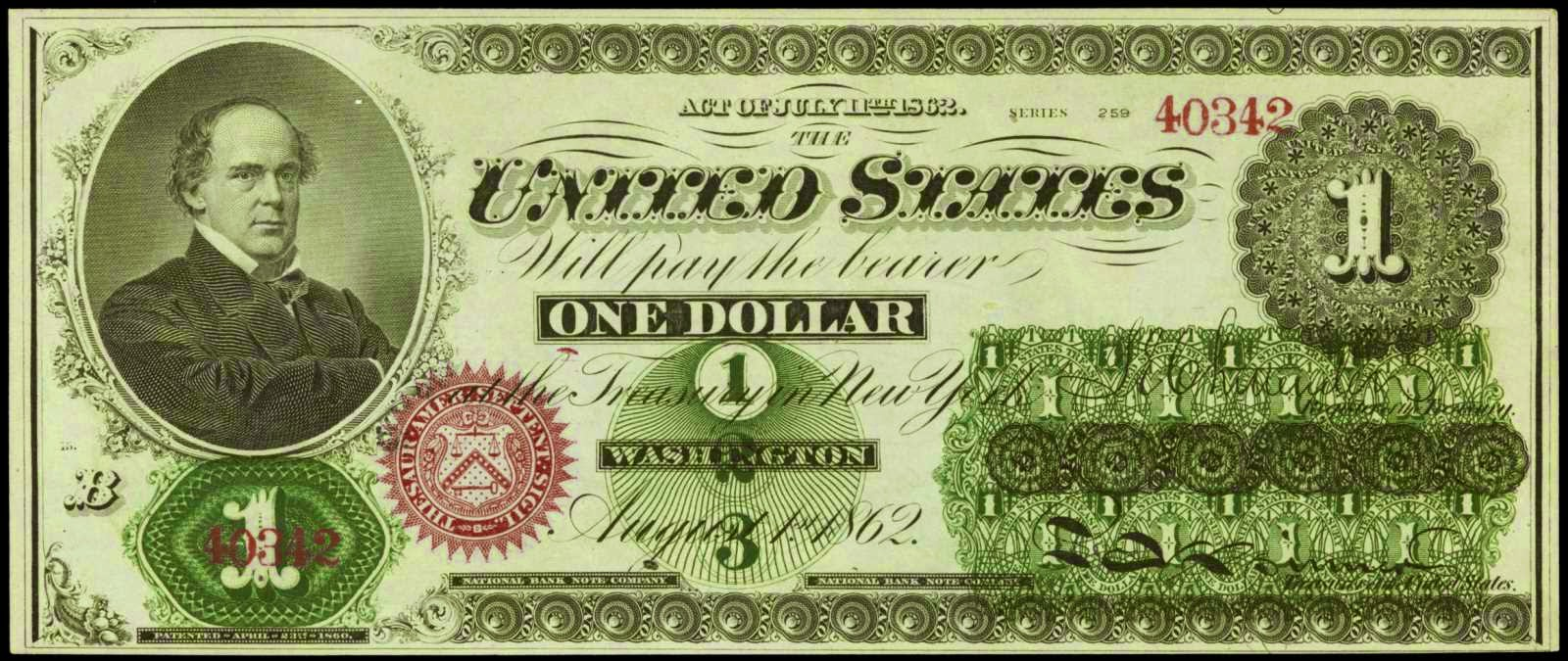 United States Notes Salmon Chase 1862 One Dollar Legal Tender Note