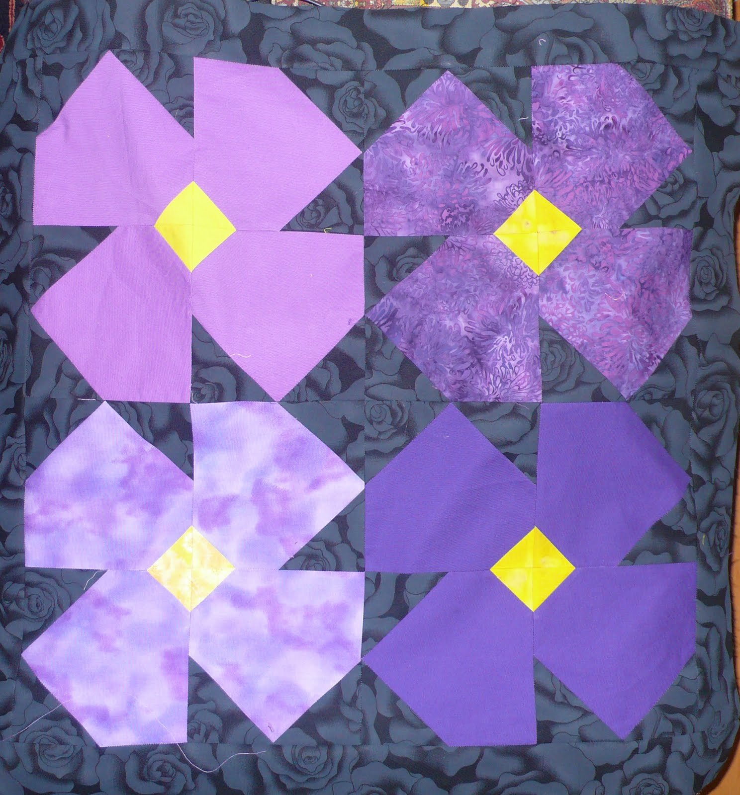 Block Lotto: How would you quilt these violets? (one block ...