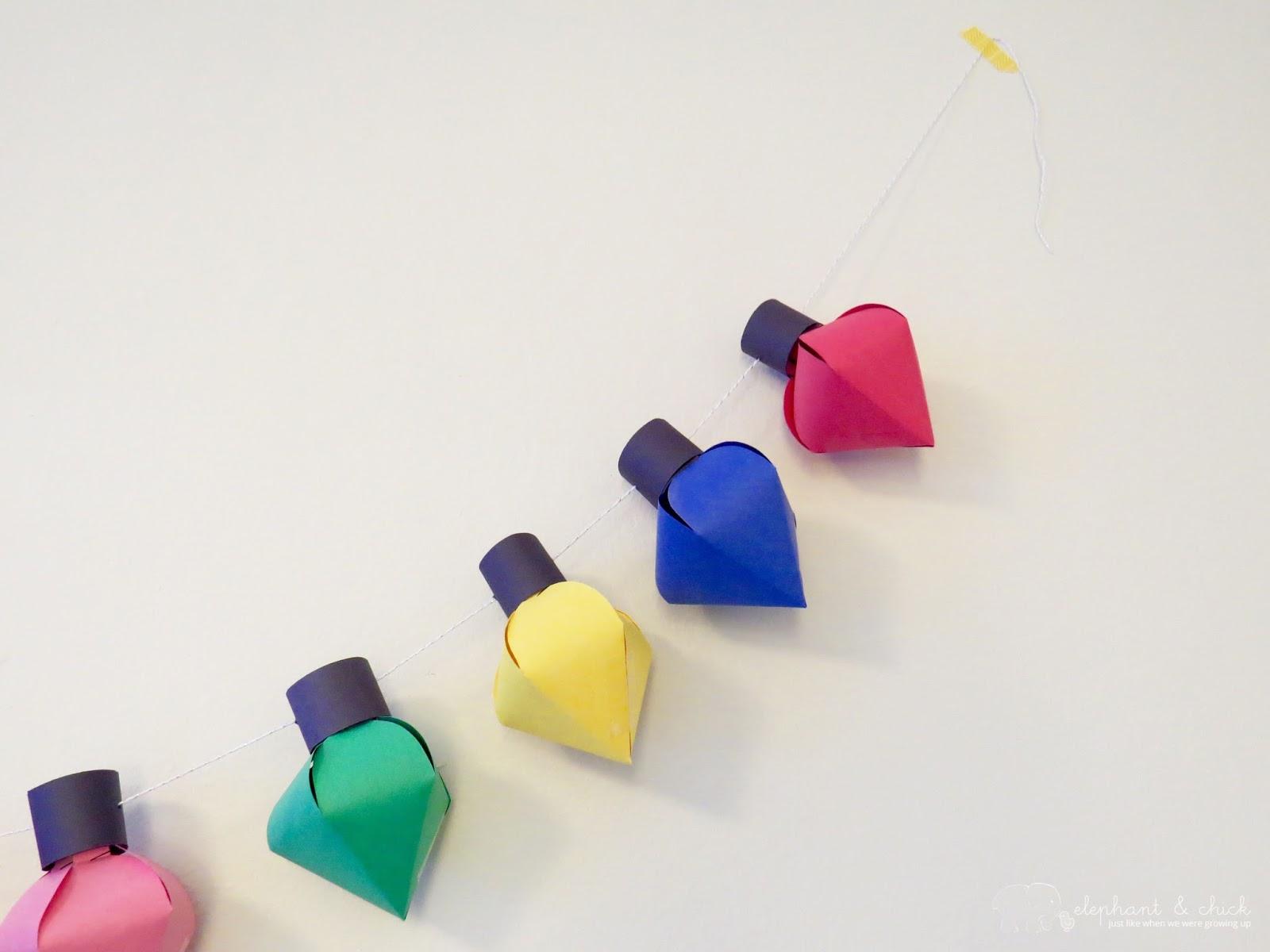 DIY} Paper Christmas Lights Garland | elephantandchick