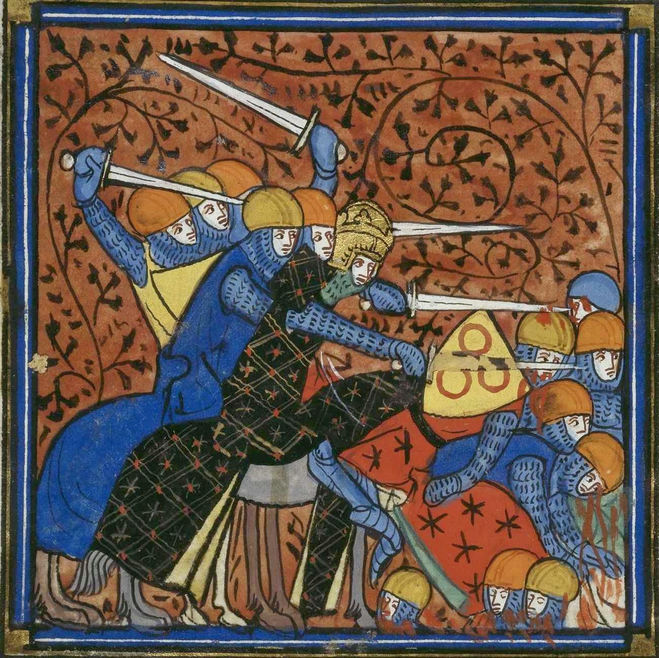 Carlomagno en batalla contra los sajones, British Library