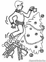 Gambar pohon natal yang sedang dihiasi