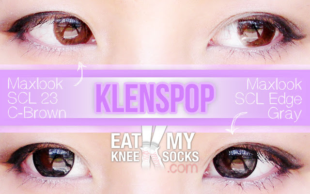 The Eat My Knee Socks/Mimchikimchi intro picture for the Klenspop circle lens review, featuring the Maxlook SCL 23 C-Brown and Maxlook SCL Edge Gray lenses.