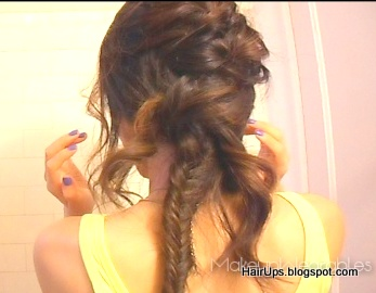 Image22 001 How to Fishtail Braid Easy Hairstyle Tutorial   Sexy Rock Star Fishtail Side Braid Updo