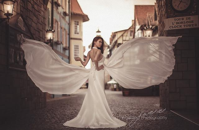 butterfly flounce wedding dress