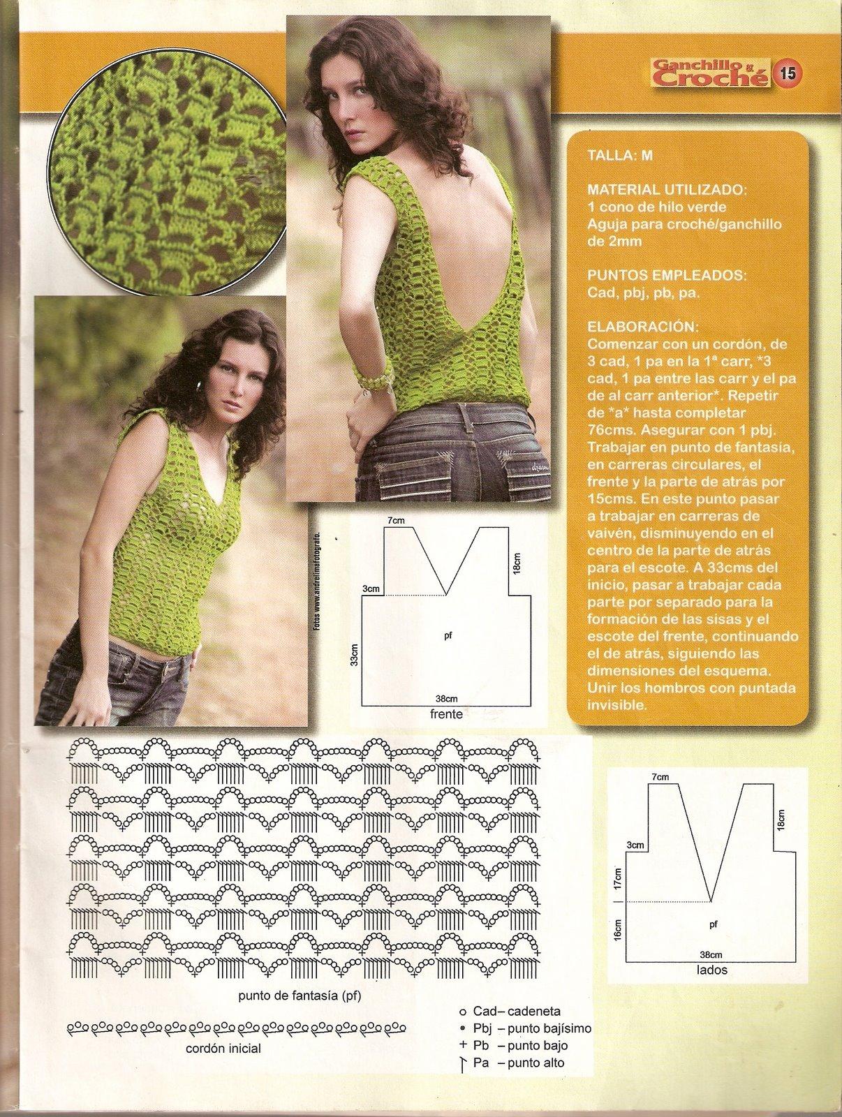 Top Crochet Escote Espalda - Patrones Crochet
